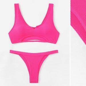 Pink cut out cheeky bikini